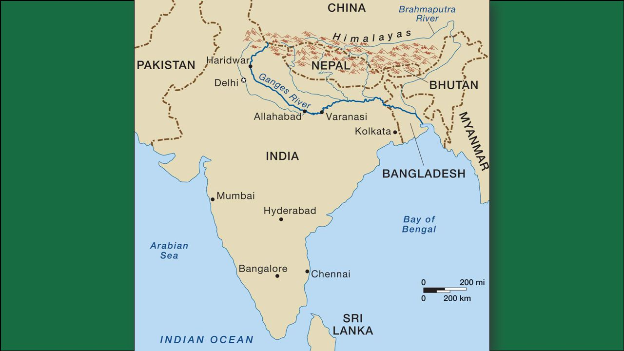 The Ganges River begins high in the Himalayas and flows southeast through India and Bangladesh for more than 1,500 miles to the Bay of Bengal.