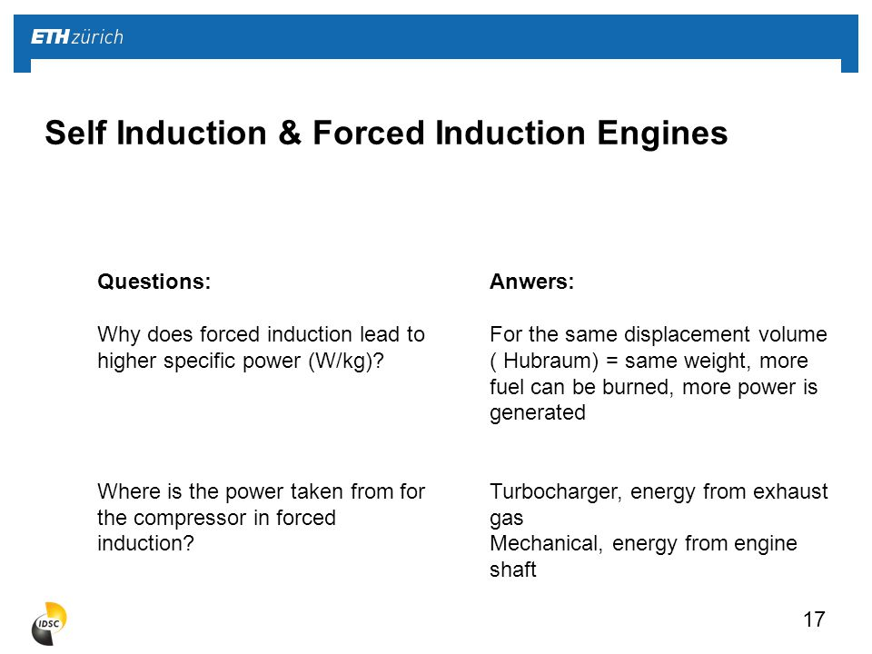 17 Questions: Why does forced induction lead to higher specific power (W/kg).