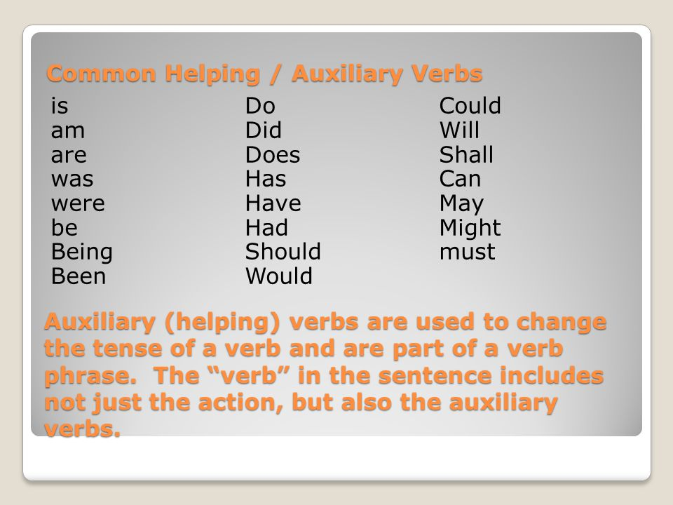 Auxiliary (helping) verbs are used to change the tense of a verb and are part of a verb phrase.
