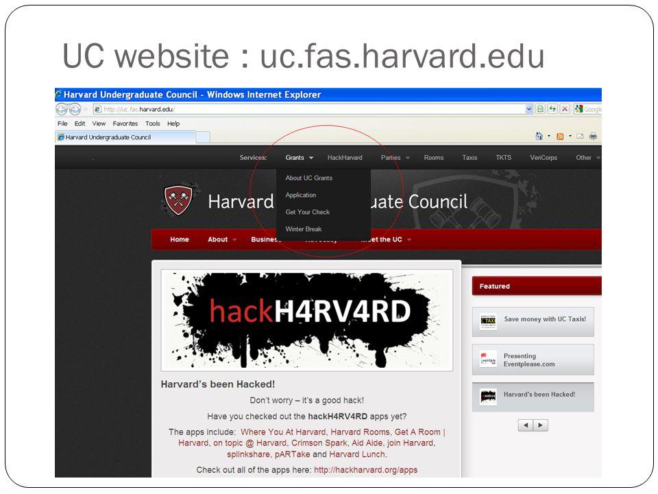 UC website : uc.fas.harvard.edu
