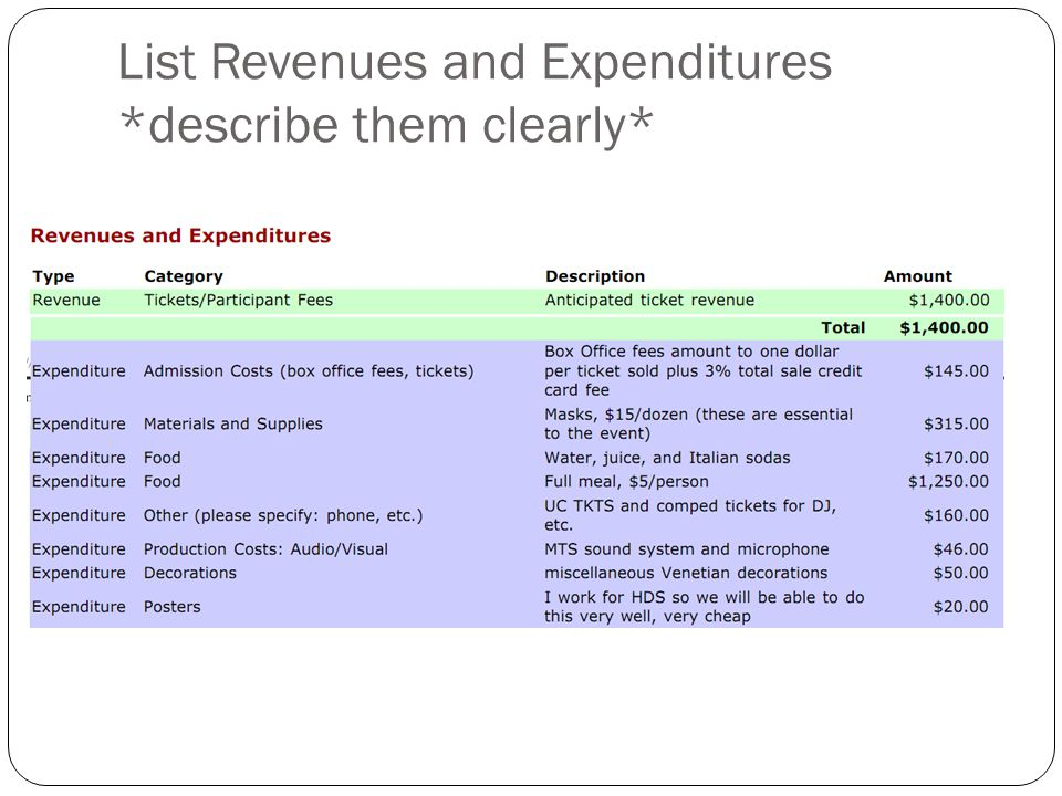 List Revenues and Expenditures *describe them clearly*