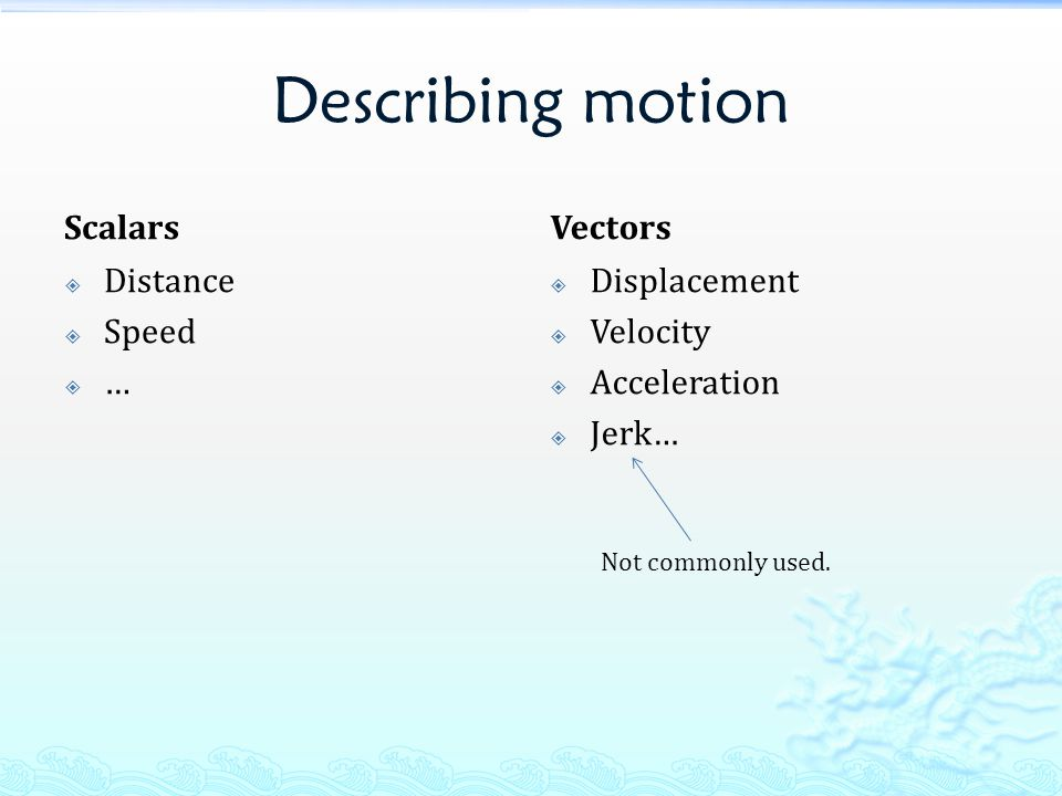 Describing motion Scalars  Distance  Speed  … Vectors  Displacement  Velocity  Acceleration  Jerk… Not commonly used.