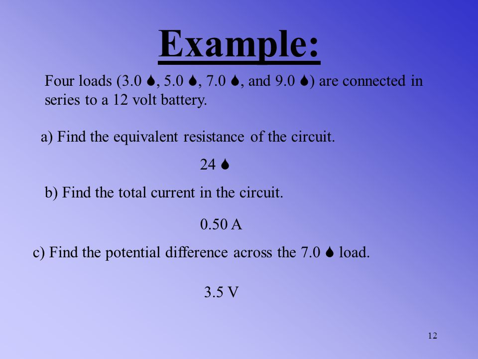 Find the total current in the circuit below. Example: 11