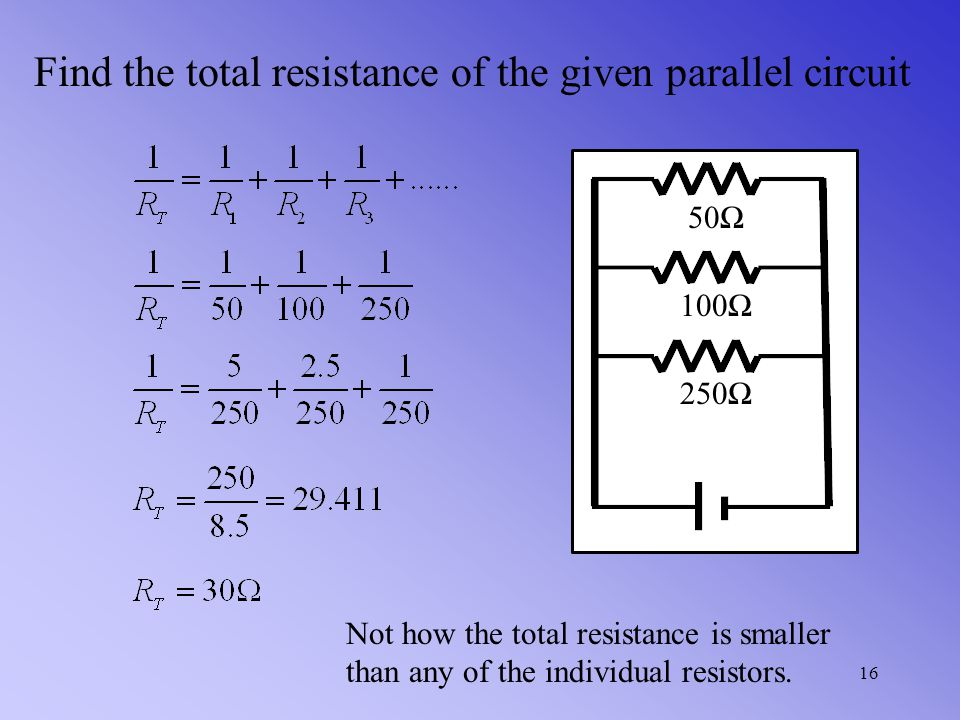 In a parallel circuit the total resistance can be found by the following formula If each resister is 6 Ω, then we get Because the current had 3 equiva