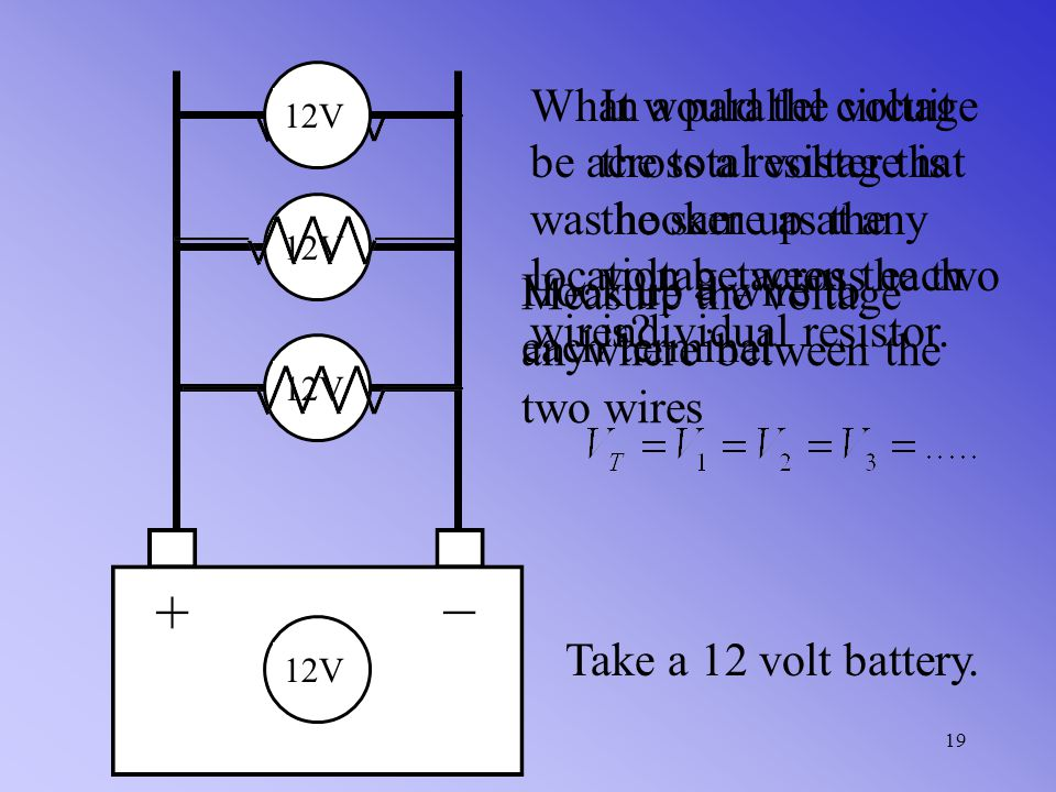 In a parallel circuit the total current is equal to the sum of all of the individual currents through each branch of the circuit 18