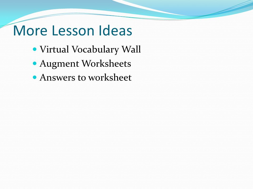 More Lesson Ideas Virtual Vocabulary Wall Augment Worksheets Answers to worksheet