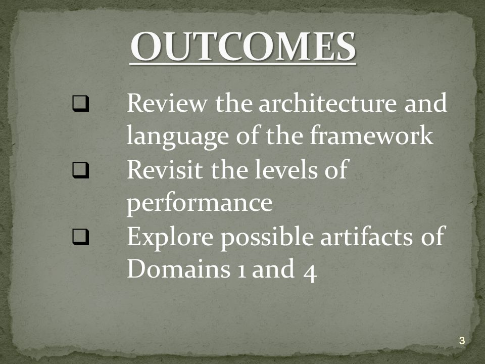  Review the architecture and language of the framework  Revisit the levels of performance  Explore possible artifacts of Domains 1 and 4 3