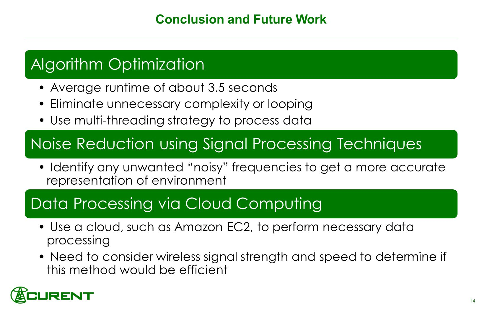 Conclusion and Future Work Algorithm Optimization Average runtime of about 3.5 seconds Eliminate unnecessary complexity or looping Use multi-threading strategy to process data Noise Reduction using Signal Processing Techniques Identify any unwanted noisy frequencies to get a more accurate representation of environment Data Processing via Cloud Computing Use a cloud, such as Amazon EC2, to perform necessary data processing Need to consider wireless signal strength and speed to determine if this method would be efficient 14