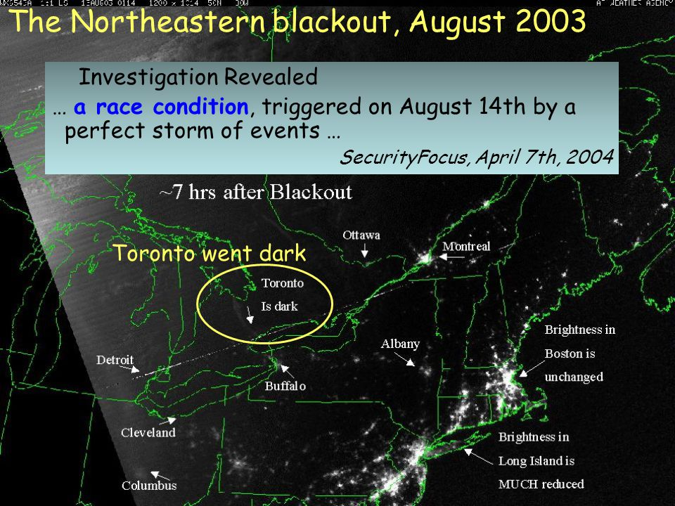 The Northeastern blackout, August 2003 Toronto went dark Investigation Revealed … a race condition, triggered on August 14th by a perfect storm of events … SecurityFocus, April 7th, 2004