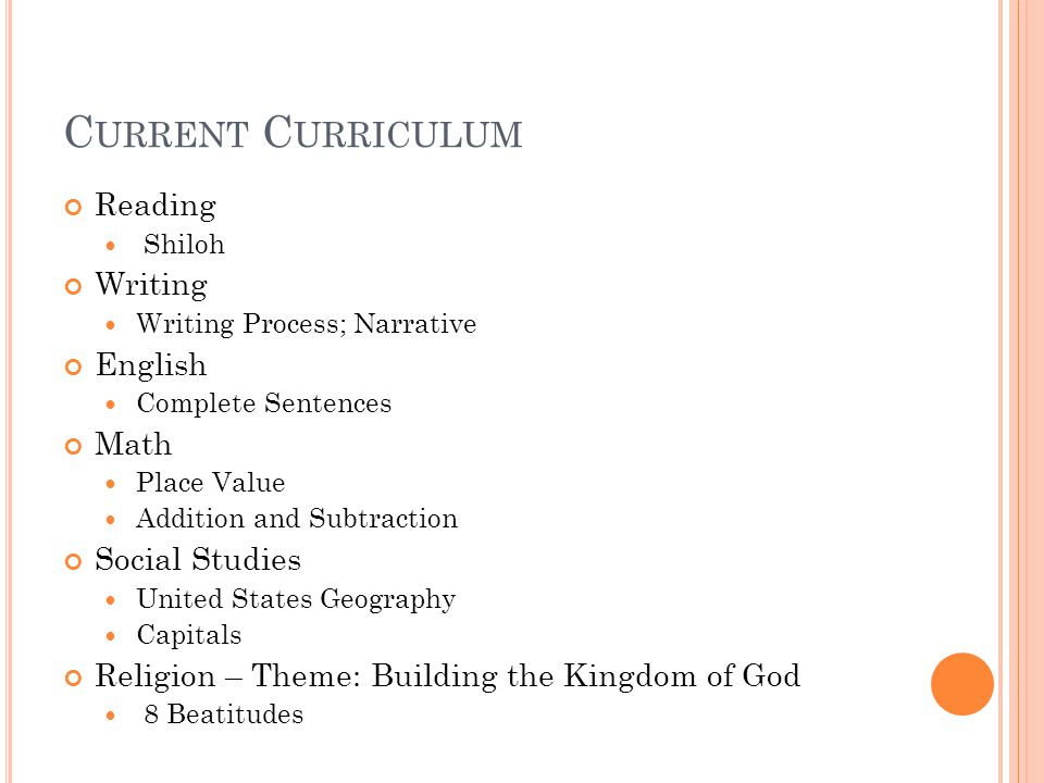 C URRENT C URRICULUM Reading Shiloh Writing Writing Process; Narrative English Complete Sentences Math Place Value Addition and Subtraction Social Studies United States Geography Capitals Religion – Theme: Building the Kingdom of God 8 Beatitudes