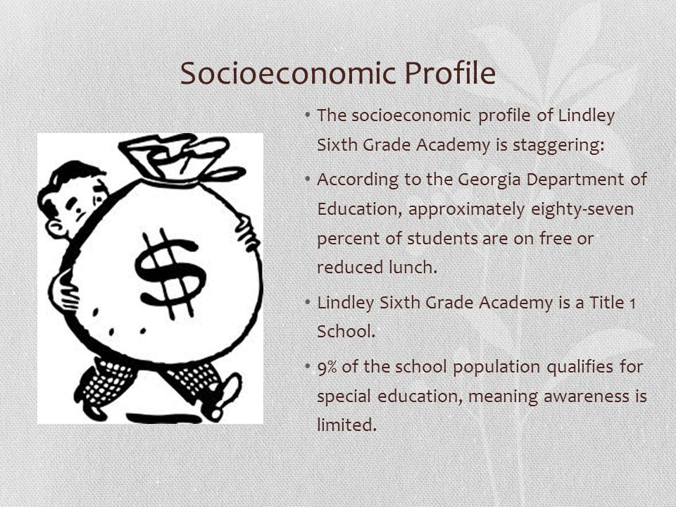 Socioeconomic Profile The socioeconomic profile of Lindley Sixth Grade Academy is staggering: According to the Georgia Department of Education, approximately eighty-seven percent of students are on free or reduced lunch.