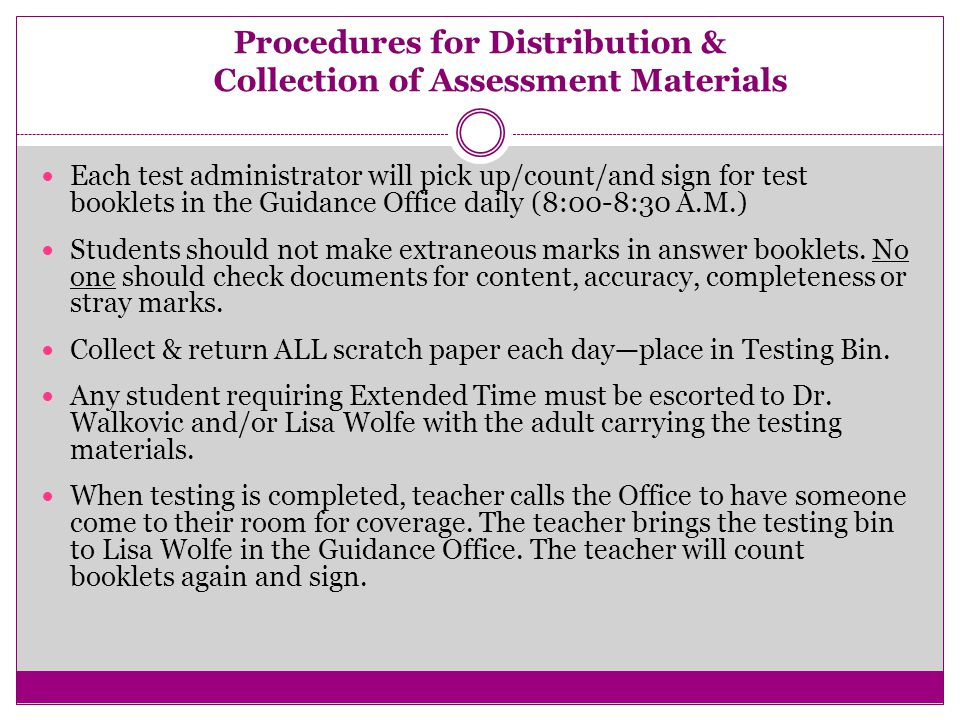 New in 2014 New: Review Code of Conduct for Test Takers with all students (copy included in packets).