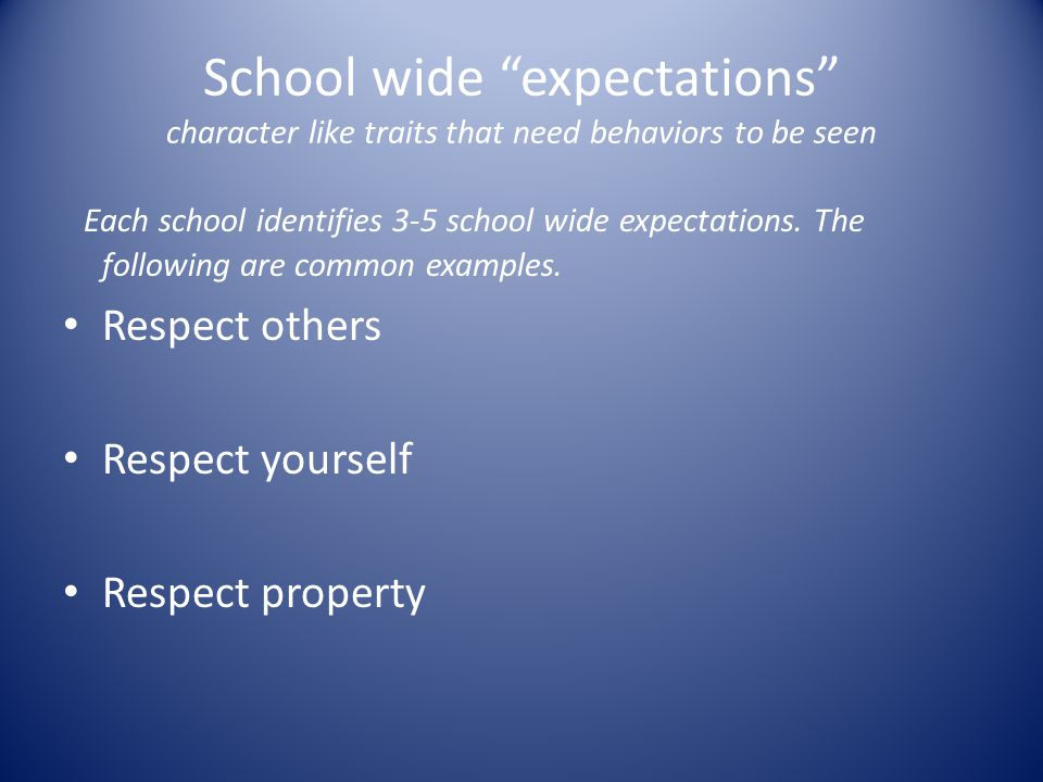"School wide ""expectations"" character like traits that need behaviors to be seen Each school identifies 3-5 school wide expectations. The following are"