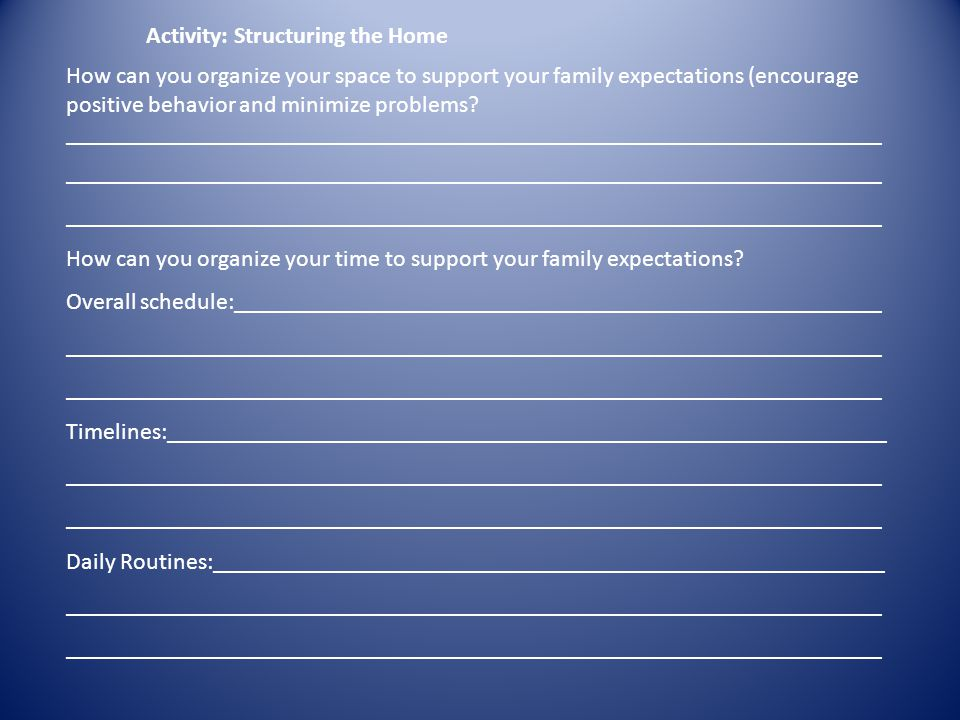Activity: Structuring the Home How can you organize your space to support your family expectations (encourage positive behavior and minimize problems.