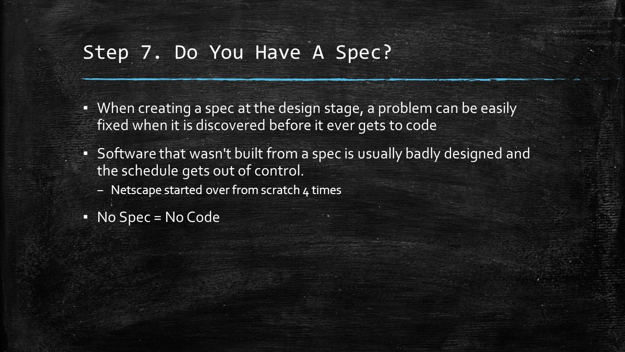 Step 7. Do You Have A Spec.