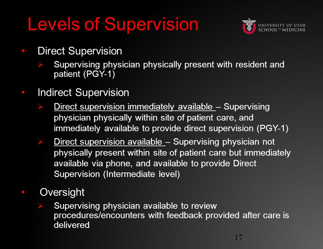Levels of SupervisionLevels of Supervision Direct Supervision  Supervising physician physically present with resident and patient (PGY-1) Indirect Supervision  Direct supervision immediately available – Supervising physician physically within site of patient care, and immediately available to provide direct supervision (PGY-1)  Direct supervision available – Supervising physician not physically present within site of patient care but immediately available via phone, and available to provide Direct Supervision (Intermediate level) Oversight  Supervising physician available to review procedures/encounters with feedback provided after care is delivered 17
