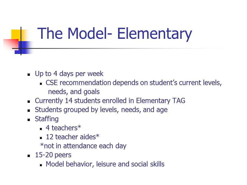 The Model- Elementary Up to 4 days per week CSE recommendation depends on student's current levels, needs, and goals Currently 14 students enrolled in