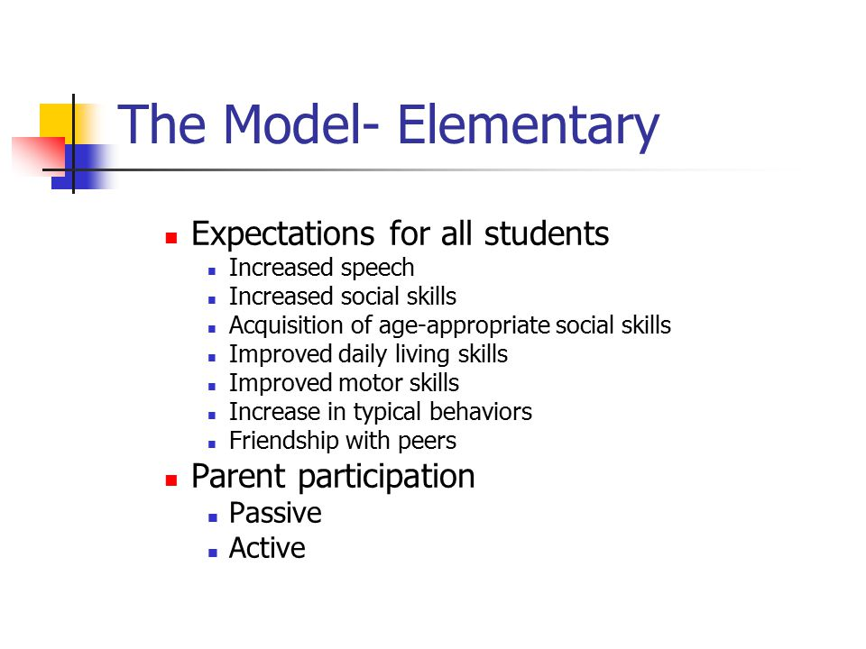 The Model- Elementary Expectations for all students Increased speech Increased social skills Acquisition of age-appropriate social skills Improved dai
