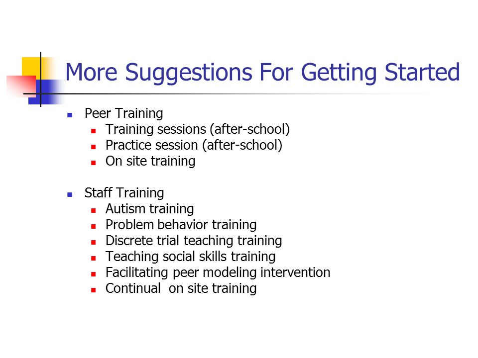 More Suggestions For Getting Started Peer Training Training sessions (after-school) Practice session (after-school) On site training Staff Training Au
