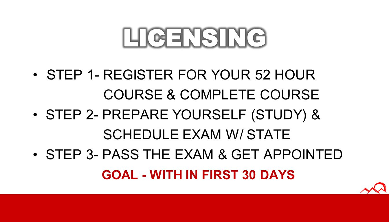 STEP 1- REGISTER FOR YOUR 52 HOUR COURSE & COMPLETE COURSE STEP 2- PREPARE YOURSELF (STUDY) & SCHEDULE EXAM W/ STATE STEP 3- PASS THE EXAM & GET APPOI