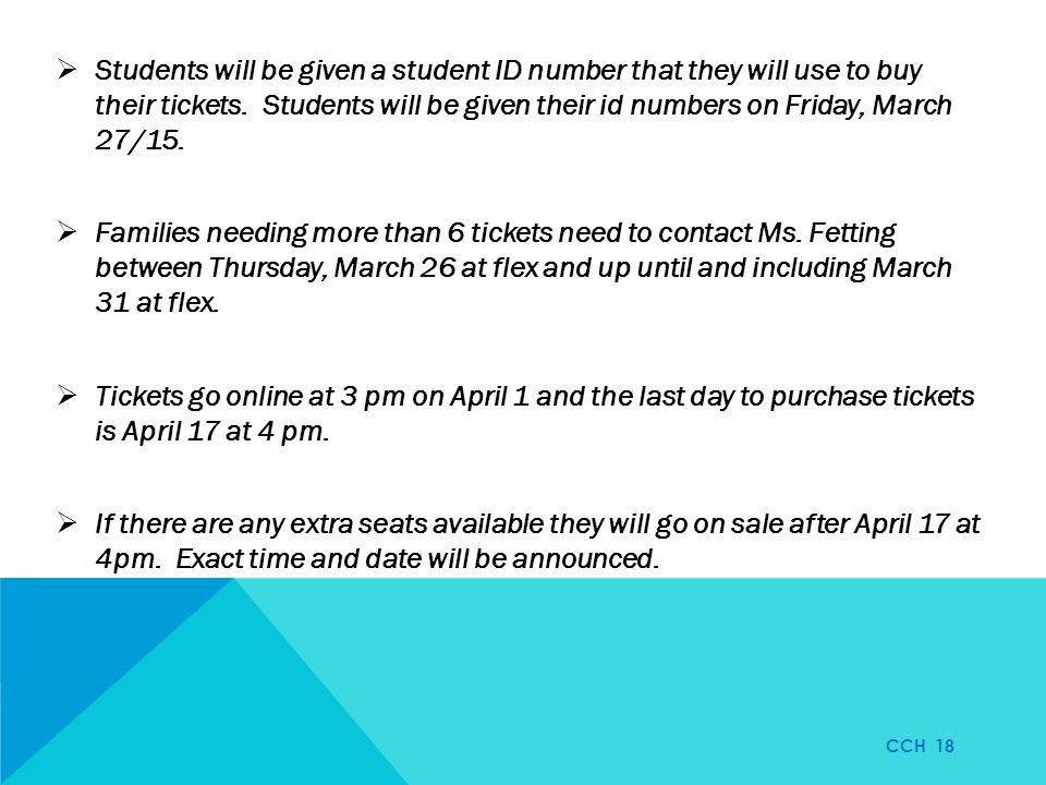  Students will be given a student ID number that they will use to buy their tickets.