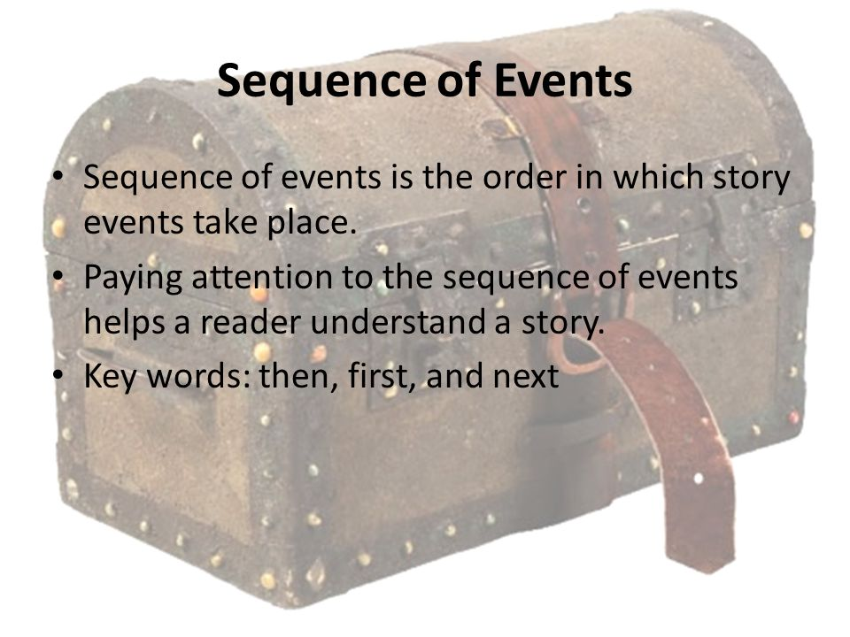 Sequence of Events Sequence of events is the order in which story events take place. Paying attention to the sequence of events helps a reader underst