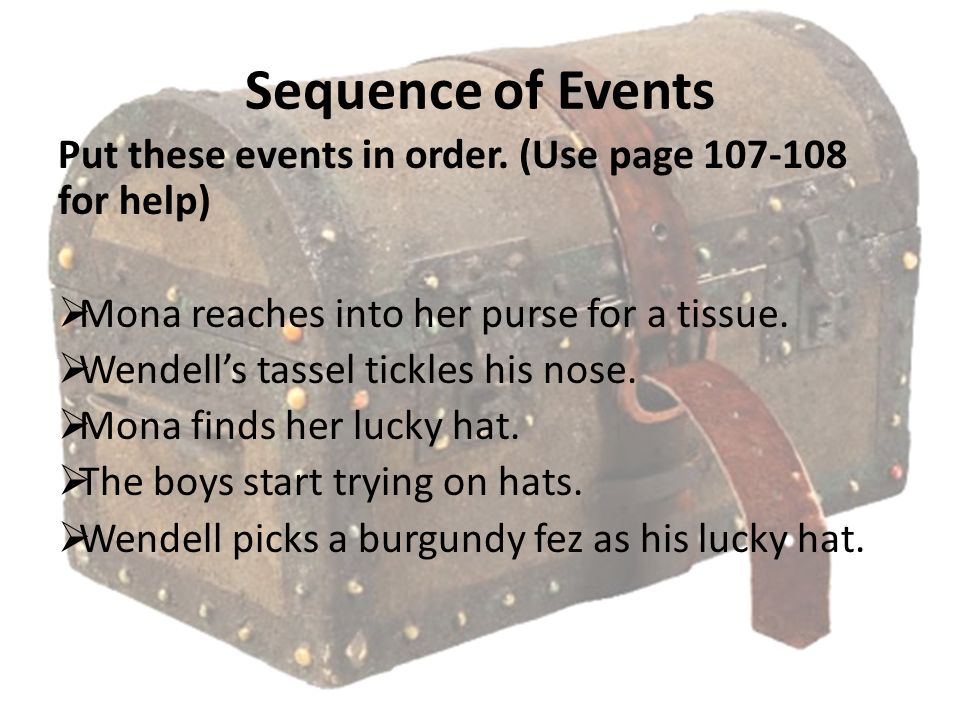 Sequence of Events Put these events in order. (Use page 107-108 for help)  Mona reaches into her purse for a tissue.  Wendell's tassel tickles his n