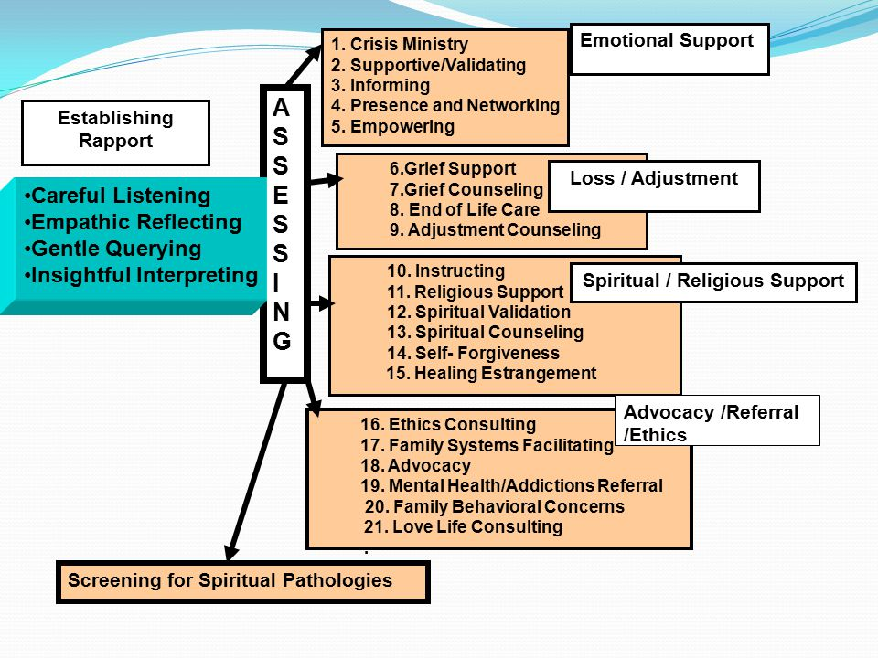 ASSESSINGASSESSING 6.Grief Support 7.Grief Counseling 8. End of Life Care 9. Adjustment Counseling 16. Ethics Consulting 17. Family Systems Facilitati