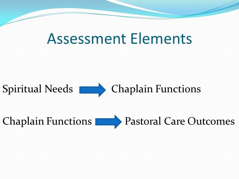Assessment Elements Spiritual Needs Chaplain Functions Chaplain Functions Pastoral Care Outcomes