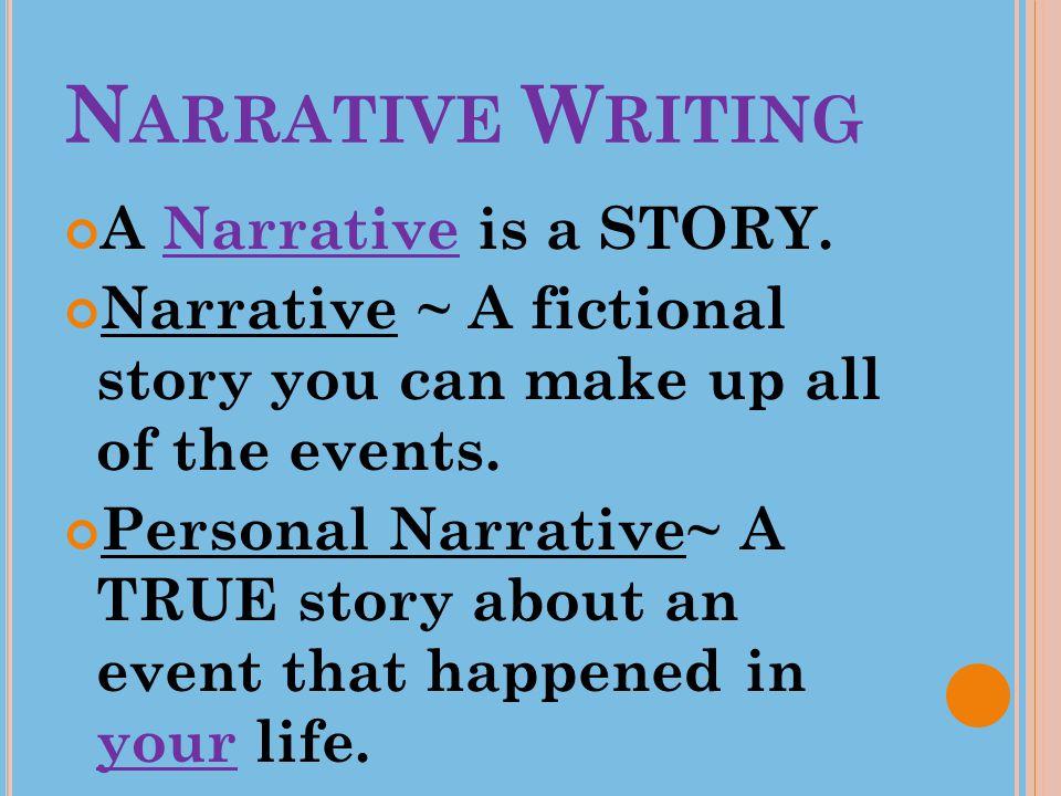 N ARRATIVE W RITING A Narrative is a STORY.