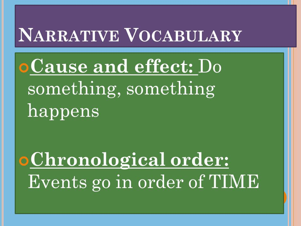 N ARRATIVE V OCABULARY Cause and effect: Do something, something happens Chronological order: Events go in order of TIME
