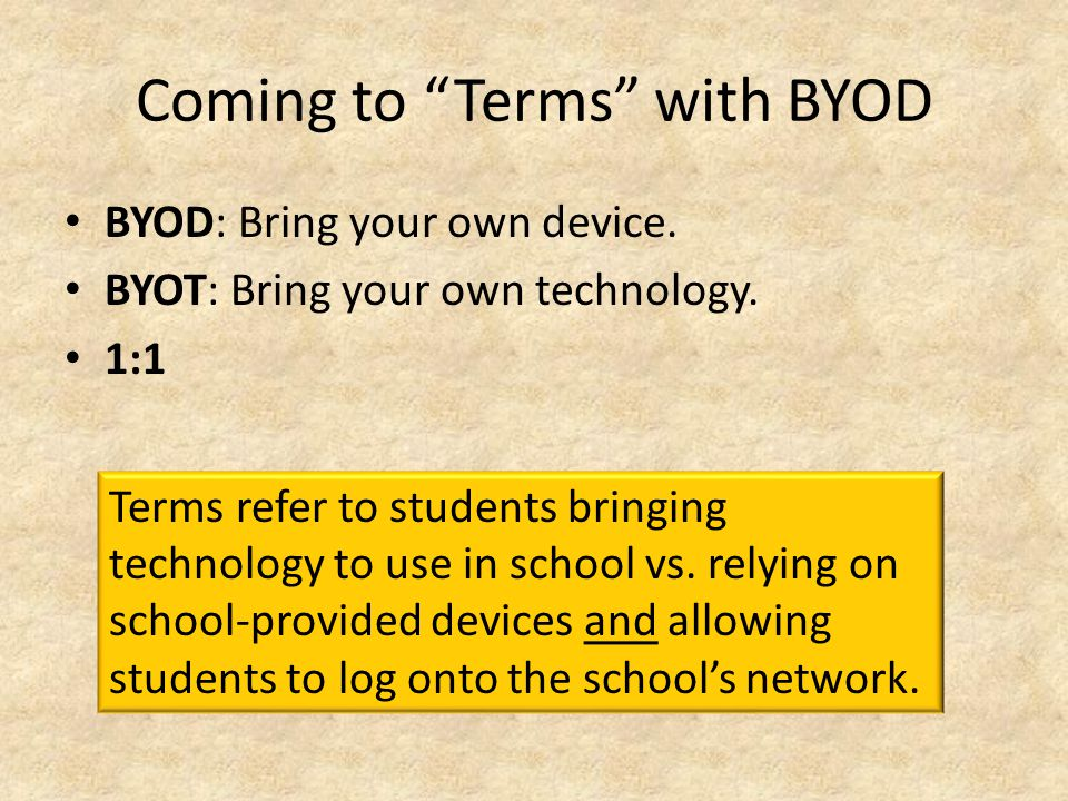 Coming to Terms with BYOD BYOD: Bring your own device.