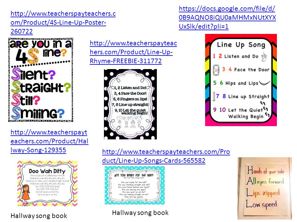 http://www.teacherspayteachers.c om/Product/4S-Line-Up-Poster- 260722 https://docs.google.com/file/d/ 0B9AQNO8iQU0aMHMxNUtXYX UxSlk/edit?pli=1 http://