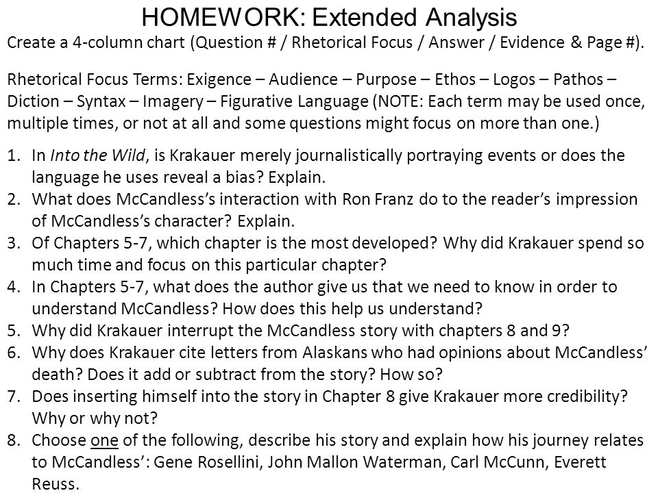 HOMEWORK: Extended Analysis Create a 4-column chart (Question # / Rhetorical Focus / Answer / Evidence & Page #). Rhetorical Focus Terms: Exigence – A