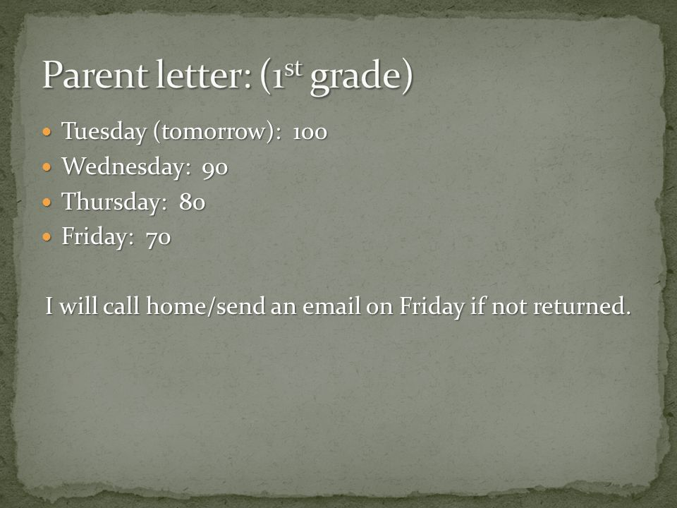 Tuesday (tomorrow): 100 Tuesday (tomorrow): 100 Wednesday: 90 Wednesday: 90 Thursday: 80 Thursday: 80 Friday: 70 Friday: 70 I will call home/send an  on Friday if not returned.