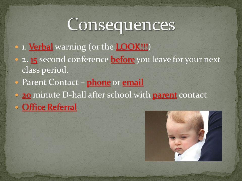 Verbal LOOK!!. 1. Verbal warning (or the LOOK!!!) 15before 2.