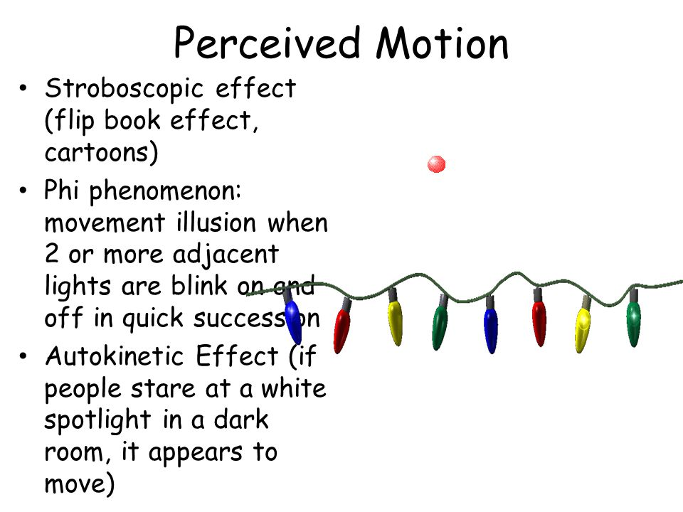 Perceived Motion Stroboscopic effect (flip book effect, cartoons) Phi phenomenon: movement illusion when 2 or more adjacent lights are blink on and off in quick succession Autokinetic Effect (if people stare at a white spotlight in a dark room, it appears to move)
