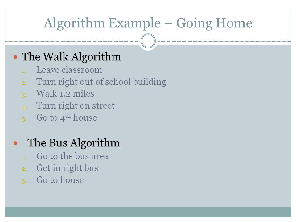 Algorithms Both algorithms, and others that accomplish the same task (of getting you home).