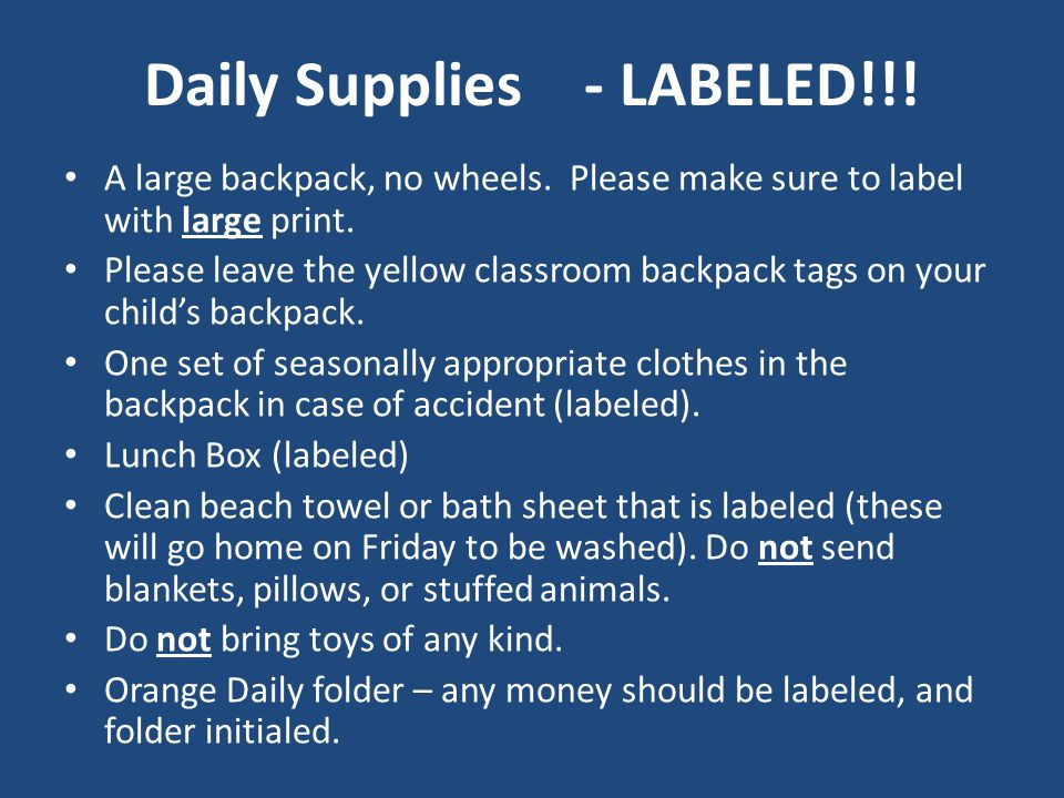 Daily Supplies - LABELED!!. A large backpack, no wheels.
