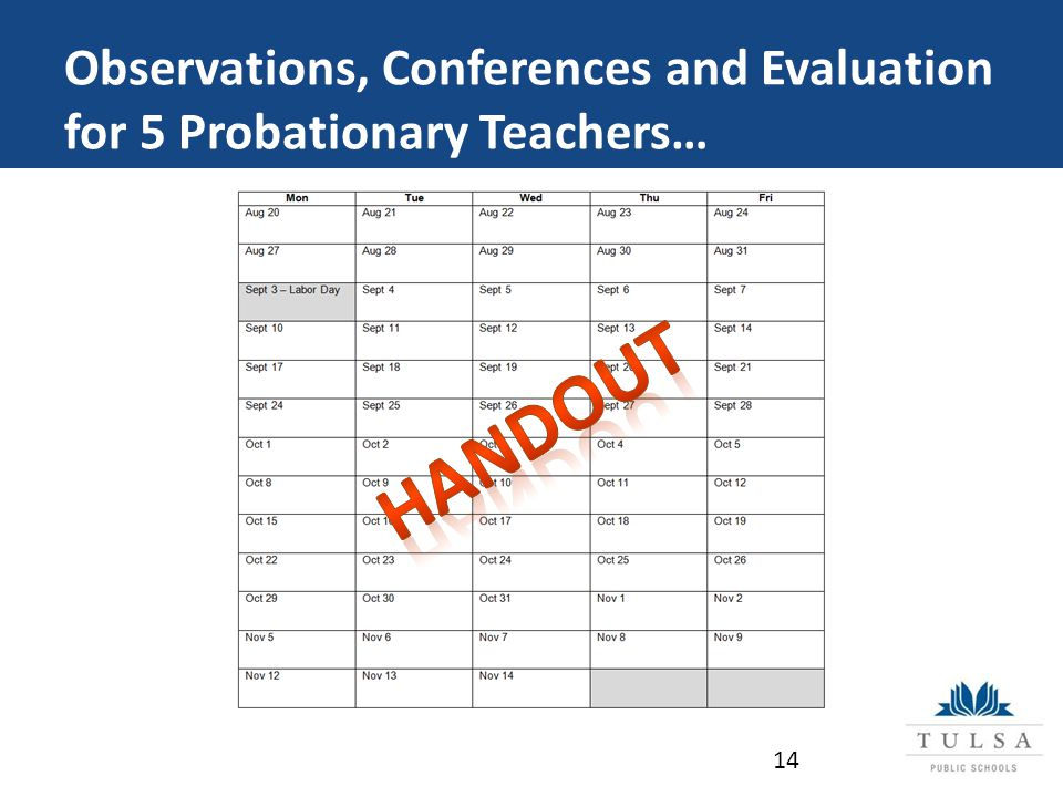 Observations, Conferences and Evaluation for 5 Probationary Teachers… 14