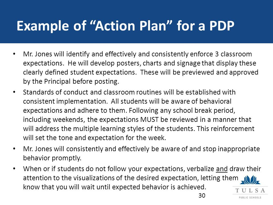Example of Action Plan for a PDP Mr.