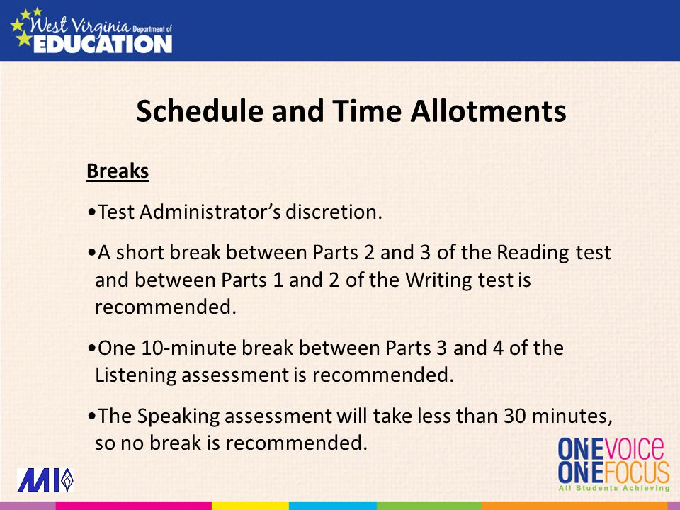 Breaks Test Administrator's discretion. A short break between Parts 2 and 3 of the Reading test and between Parts 1 and 2 of the Writing test is recom