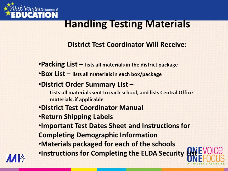 District Test Coordinator Will Receive: Packing List – lists all materials in the district package Box List – lists all materials in each box/package District Order Summary List – Lists all materials sent to each school, and lists Central Office materials, if applicable District Test Coordinator Manual Return Shipping Labels Important Test Dates Sheet and Instructions for Completing Demographic Information Materials packaged for each of the schools Instructions for Completing the ELDA Security List Handling Testing Materials