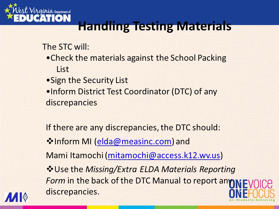 The STC will: Check the materials against the School Packing List Sign the Security List Inform District Test Coordinator (DTC) of any discrepancies I