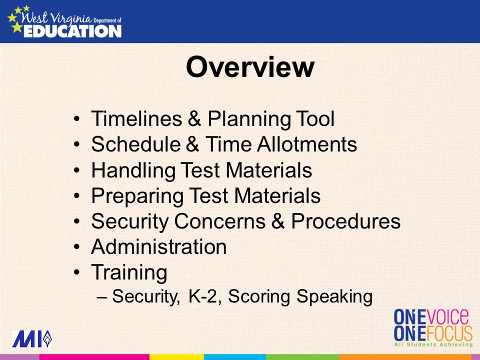 Overview Timelines & Planning Tool Schedule & Time Allotments Handling Test Materials Preparing Test Materials Security Concerns & Procedures Administration Training –Security, K-2, Scoring Speaking
