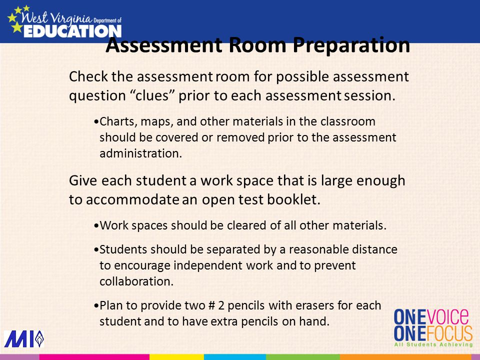 """Check the assessment room for possible assessment question """"clues"""" prior to each assessment session. Charts, maps, and other materials in the classroo"""