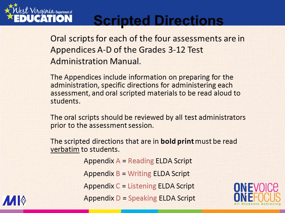 Scripted Directions Oral scripts for each of the four assessments are in Appendices A-D of the Grades 3-12 Test Administration Manual.