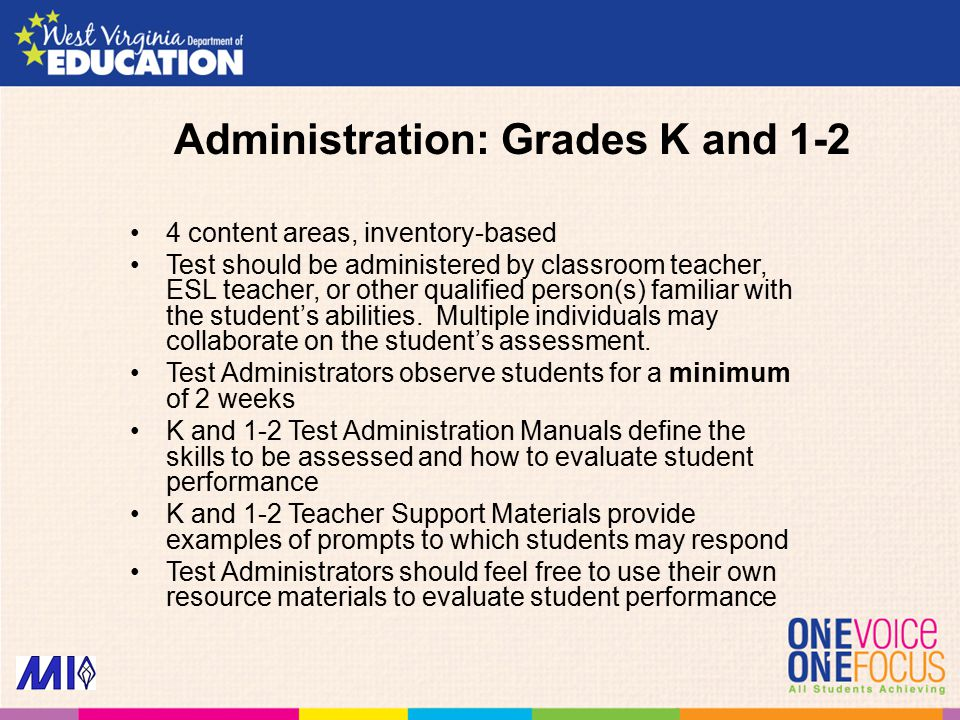 Administration: Grades K and 1-2 4 content areas, inventory-based Test should be administered by classroom teacher, ESL teacher, or other qualified person(s) familiar with the student's abilities.