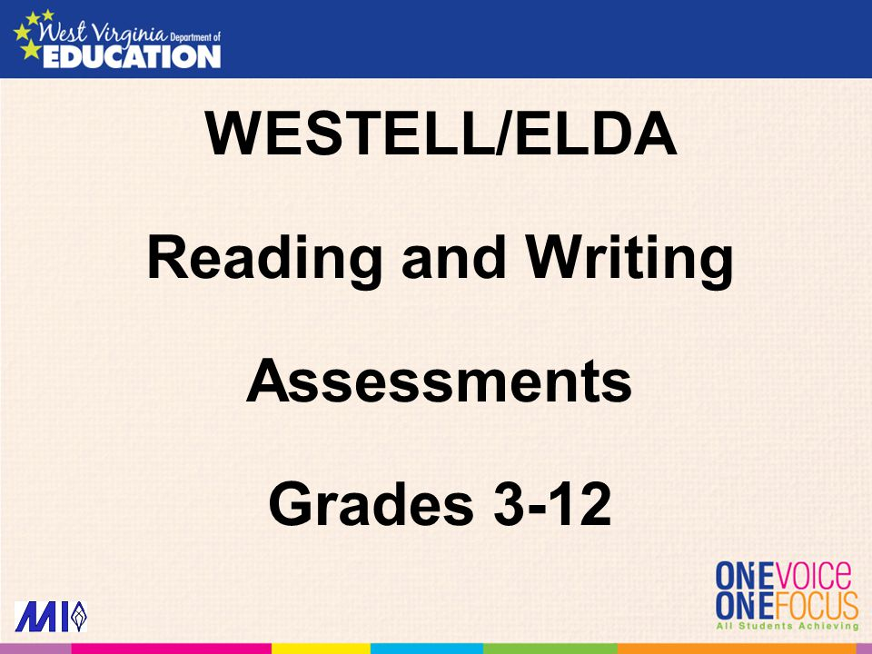 WESTELL/ELDA Reading and Writing Assessments Grades 3-12