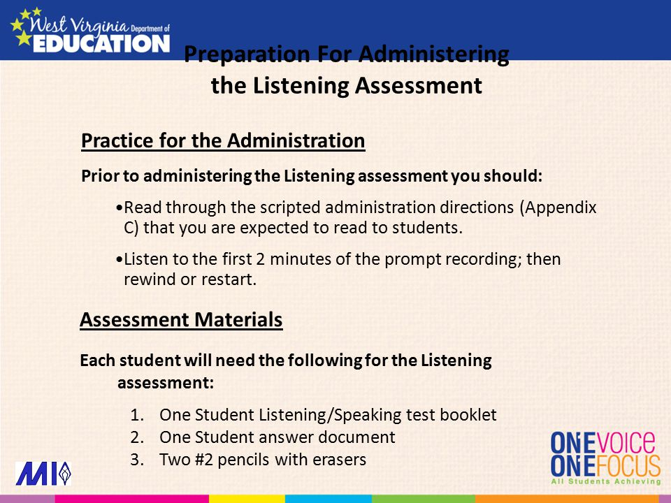 Practice for the Administration Prior to administering the Listening assessment you should: Read through the scripted administration directions (Appendix C) that you are expected to read to students.